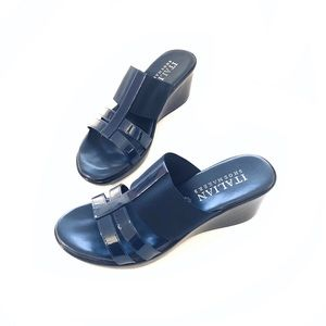 ITALIAN Shoemakers Navy Wedge Sandals Size 8.5 EUC